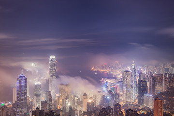 Urban fog View of Hong Kong from Victoria peak