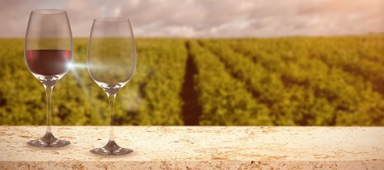 Composite image of image of a wine glass