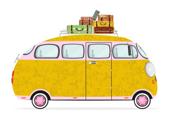 Funny cartoon hippie bus on a white background. Flat vector