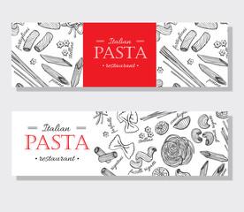 Vector vintage italian pasta restaurant illustration. Hand drawn