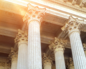 Closeup view of colonnade and the ceiling of Kazan Cathedral  in Saint-Petersburg, Russia.