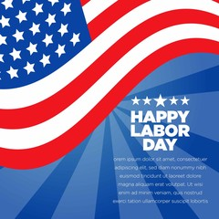 Blue American Labor Day Vector