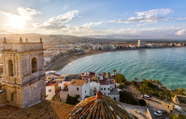 View on Peniscola  from the top of Pope Luna's  Castle , Valencia, Spain Wall mural