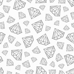 vector pattern with diamonds, black and white seamless pattern
