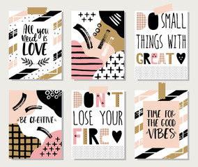 Collection of 6 creative poster with motivational quotes.