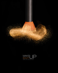 Makeup concept. Cosmetics brush with glowing face powder