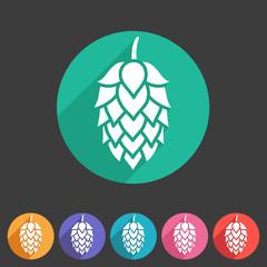 Hop beer sign icon flat web symbol logo label