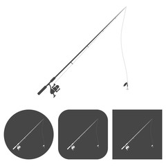 Fishing rod - vector icons set