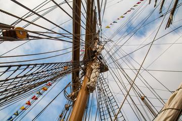 Tall ship race. Regatta in Baltic sea. Latvia.