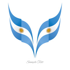 Abstract Argentinean eagle flag ribbon logo white background