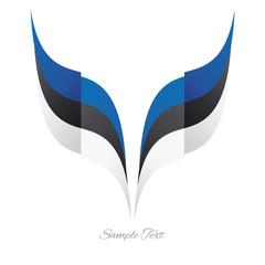 Abstract Estonian eagle flag ribbon logo white background