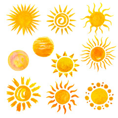 set of watercolor sun icons isolated on white. Hand painting