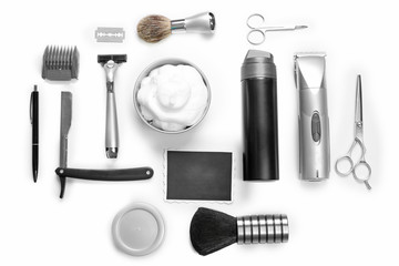 Black photo, shaving set with equipment, tools and foam, isolated on white
