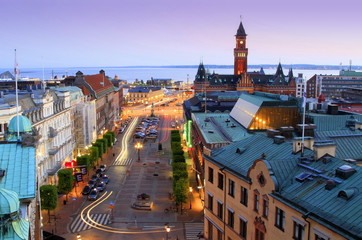 Panorama of Helsingborg at twilight