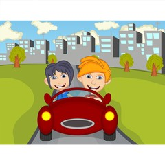 Happy Child on a car with city background cartoon