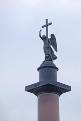 St. Petersburg, Russia - on March, 13, 2016: Alexander column in St. Petersburg, Russia.
