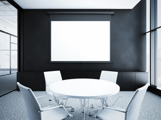Modern office interior with black walls. 3d rendering