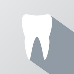 White tooth with long shadow effect. Silhouette white tooth, icon tooth white, stomatology healthcare, human white tooth