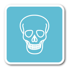 skull blue square internet flat design icon
