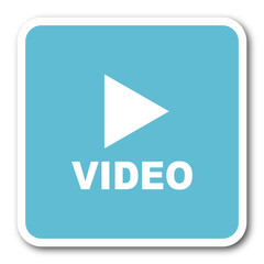 video blue square internet flat design icon