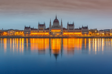 Parliament building at dusk, Budapest