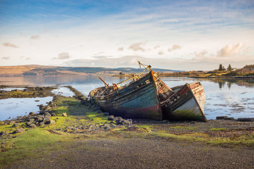 Canvas Prints Ship old wooden fishing boat wrecks on mull