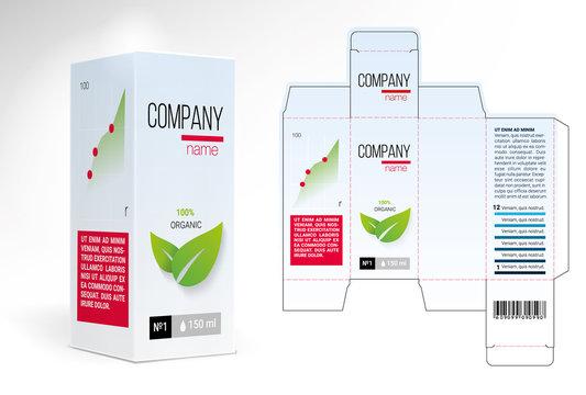 Box design, die-stamping. Vector template
