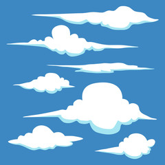 Set of Hand Drawn Clouds in Different Shape And Sizes