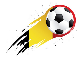 Soccer Ball With Abstract Belgium Insignia Background
