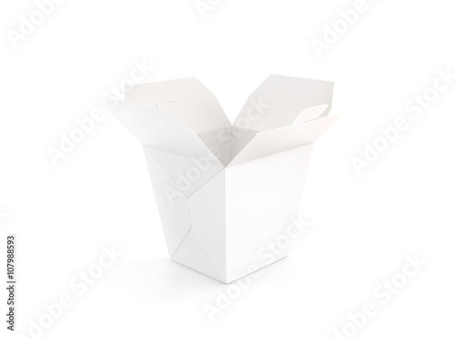 Opened blank wok box mockup stand isolated, 3d rendering. Empty ...