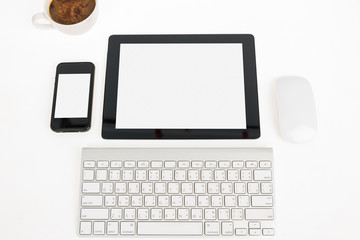 Digital tablet touch pad computer with keyboard, mouse and coffe