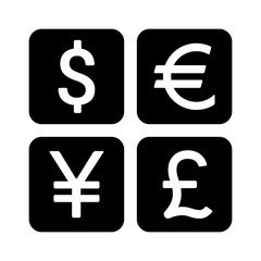 Dollar, Euro, Yen, Yuan and Pound currency exchange or currency symbols flat icon
