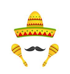Mexican Symbols Sombrero Hat, Musical Maracas, Mustache