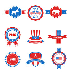 Set of Various Voting Graphics Objects and Labels, Emblems, Symbols