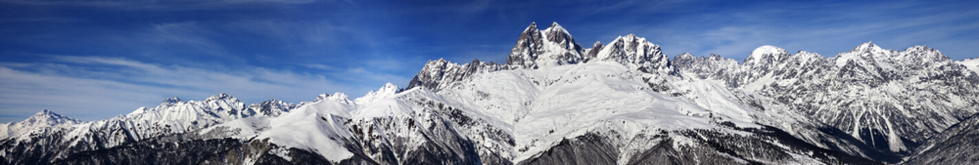 Large panoramic view on Mount Ushba at sunny day
