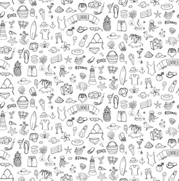 Seamless summertime traveling background Hand drawn doodle summer set icons Vector illustration Sketchy summer holiday elements collection Isolated vacation objects Cartoon summer beach journey symbol
