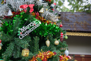 decoration, detail Christmas tree in garden
