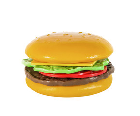 Children's hamburger, cheeseburger, toy plastic, isolated on white