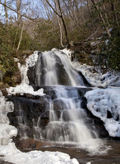 Laurel Falls in Great Smoky Mountains National Park in the in the winter near Gatlinburg, Tennessee