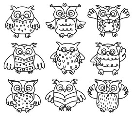 Vector cute owls cartoons black silhouette isolated.