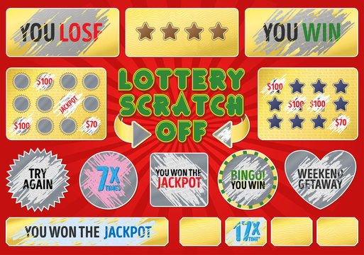 Lottery scratch off set. With effect scratch marks. Suitable for scratch card game and win. For a lottery ticket. Win game card.