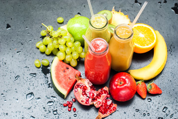 Juices Smoothie Red Green Orange Fruits Tropical