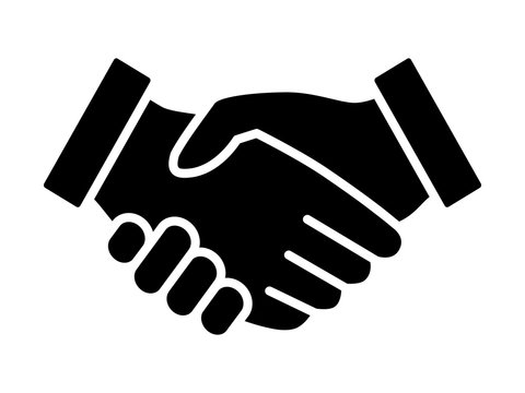 Business agreement handshake or friendly handshake line art icon for apps and websites