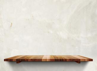 Empty wooden shelfs on pastel grunge concrete wall, Mock up temp