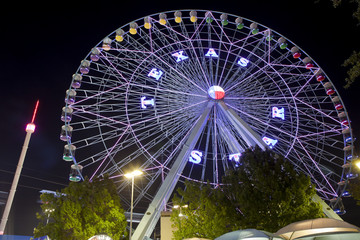 Night view of a ferris wheel at the in Dallas Texas