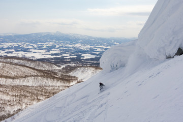 Snowboarder at a Ski Resort in Niseko, Hokkaido, Japan