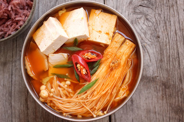 Korean tofu soup with kimchi