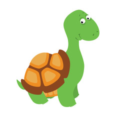 Vector illustration of a cute cartoon little turtle. Isolated on white.