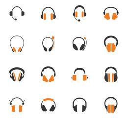 Headphones icons set
