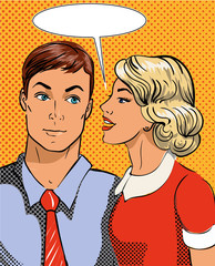 Vector illustration in pop art style. Woman telling secret to man. Retro comic. Gossip and rumors talks